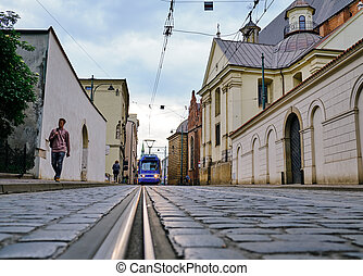 tram in the old town. Krakow, Poland