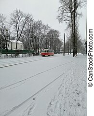 tram in the winter city