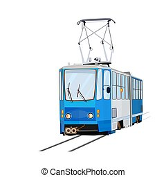 Tram isolated on white background. - Blue tram. City trolley...