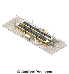 tram, isometric, set, stoppen, pictogram