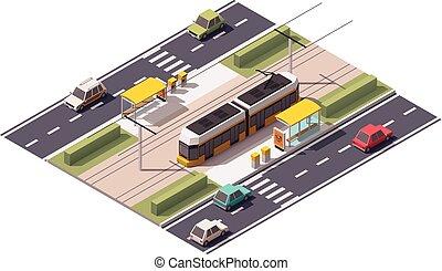 tram, isometrico, stazione, vettore