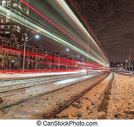 tram, luce trascina