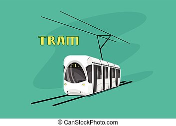 Tram, Modern City Public Transport Flat Illustration