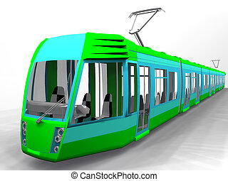 tram on a white background