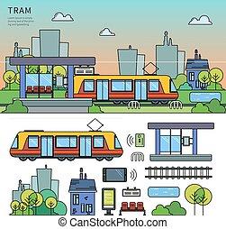 Tram on the street
