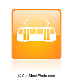 tram orange square glossy web icon