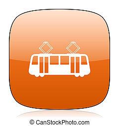tram orange square web design glossy icon