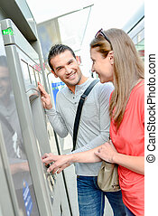 tram, paar, rijden, ticket, aankoop
