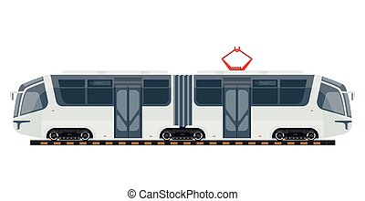 Tram public transport or tramcar modern vector isolated flat...
