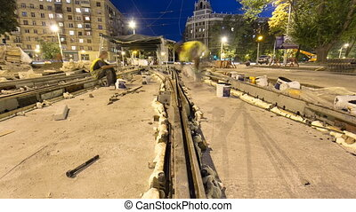 Tram rails at the stage of their installation and...