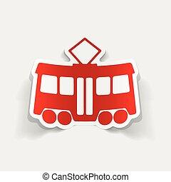 tram, realistico, element:, disegno