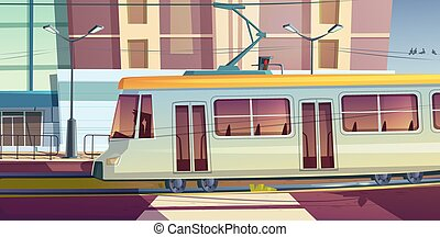Tram riding on city street trolley car with driver - Tram ...