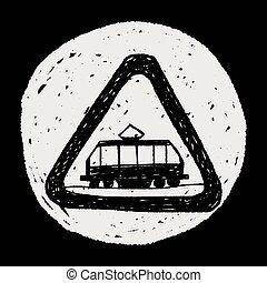 tram, scarabocchiare