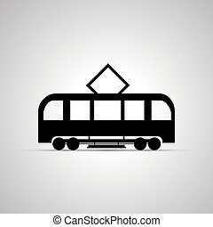Tram silhouette, side view simple black icon