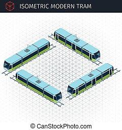 tram, stad, isometric