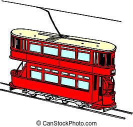 tram, stad, vervoeren