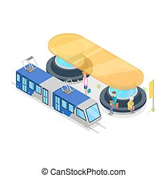 Tram stop isometric 3D icon
