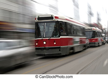 Street trams on Toronto street in motion blur