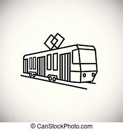 Tram thin line on white background
