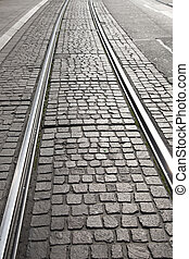 Tram Track on Cobbled Street
