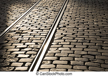 Tram tracks in Ghent, Belgium, Europe