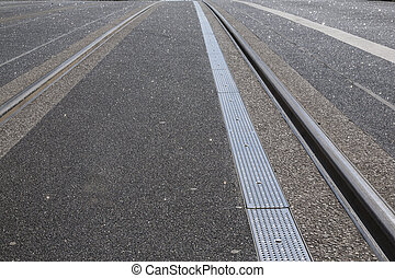 Tram Tracks on Street, Dublin