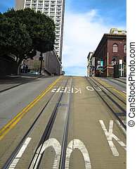 Tram tracks on the street in Los An