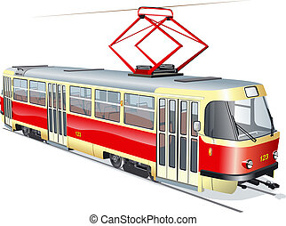 Tram - urban tram Available EPS-10 vector format separated...