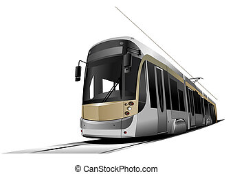 tram, vector, auto., illustratie