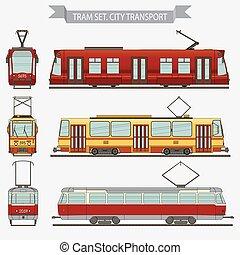 Tram set, vector city transport - tramway - railway