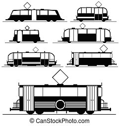 tram vector illustration in black