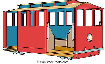 tram, ville, transport.