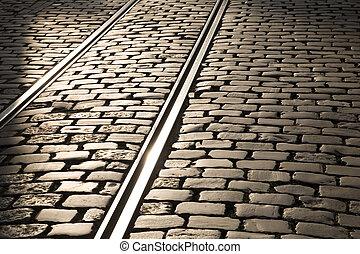 tram, voetspooren, in, gent, belgie, europa