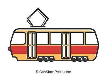 Tram wagon with special metal antenna isolated illustration...