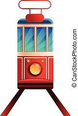 Tramcar icon, cartoon style - Tramcar icon. Cartoon of ...