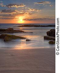 tramonto, a, birubi, spiaggia, australia