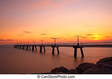 tramonto, a, costa, di, il, mare
