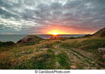 tramonto, a, il, mare, in, svezia