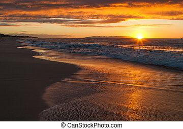 tramonto, a, polihale, spiaggia, su, kauai, hawai
