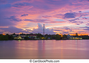 tramonto, a, uno, tropicale, paese