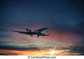 tramonto, aereo, volo