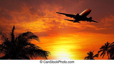 tramonto aeroplano