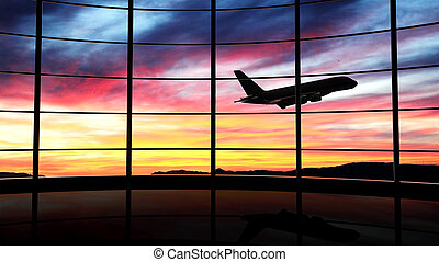 tramonto aeroplano, finestra, volare, aeroporto