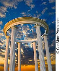 tramonto, arco, colonne