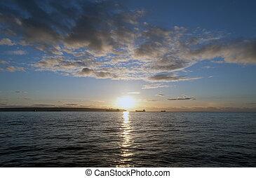 tramonto, baia, vancouver, sopra, inglese