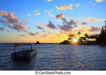 tramonto, barca, a, noume, nuova caledonia
