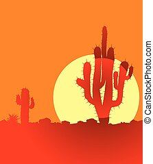 tramonto, cactus, deserto