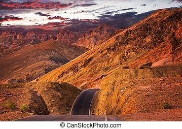 tramonto california, deserto, strada