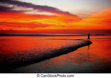 tramonto, camminare, spiaggia, distante, uomo