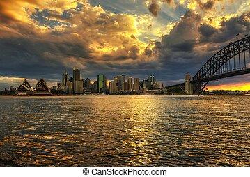 tramonto, cielo drammatico, sopra, sydney